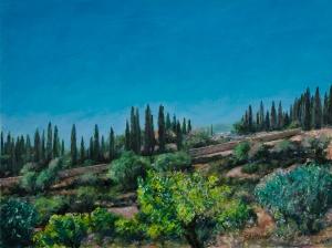 Village at Dusk, oil on canvas board, 12x15