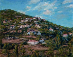Village Hillside I, acrylic on canvas, 16x20 - Copy