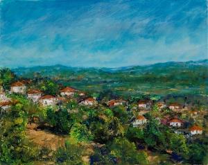 Village Overlook, oil on canvas, 8x10